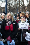 The demonstration of the Committee of the Defence  of the Democracy  KOD  for free media /wolne media/ and democracy against PIS g. CRACOW, POLAND - JANUARY 9 Stock Photography