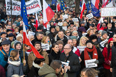 The demonstration of the Committee of the Defence  of the Democracy  KOD  for free media /wolne media/ and democracy against PIS g. CRACOW, POLAND - JANUARY 9 Royalty Free Stock Photo
