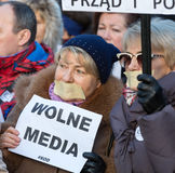 The demonstration of the Committee of the Defence  of the Democracy  KOD  for free media /wolne media/ and democracy against PIS g Stock Image