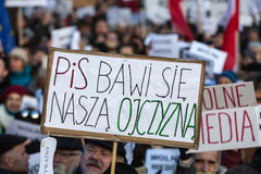 The demonstration of the Committee of the Defence  of the Democracy  KOD  for free media /wolne media/ and democracy against PIS g Stock Photo
