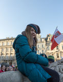 The demonstration of the Committee of Protection of the Democracy /KOD/. CRACOW, POLAND - DECEMBER 19, 2015: Cracow, Main Square - The demonstration of the stock photo