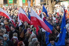 The demonstration of the Committee of  Protection of the Democracy /KOD/ Stock Photos
