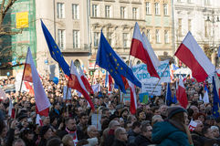 The demonstration of the Committee of  Protection of the Democracy /KOD/ Stock Images