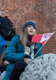 The demonstration of the Committee of Protection of the Democracy /KOD/. CRACOW, POLAND - DECEMBER 19, 2015: Cracow, Main Square - The demonstration of the stock image