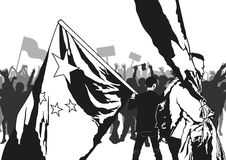 Demonstration. The crowd holds up placards and flags, Vector illustration Stock Image