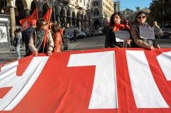Demonstration der Gewerkschaften in Rom Lizenzfreie Stockfotos