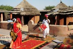 Demonstration der indischen Teppiche Lizenzfreies Stockbild
