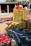 Demonstration der indischen Teppiche Lizenzfreie Stockfotos