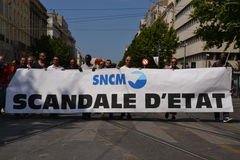 Demonstration by employees of the National Society Corse Méditerranée (SNCM). Employees of the Societe nationale Corse Mediterranee (SNCM) hold banners as royalty free stock images