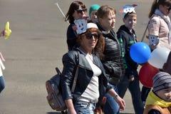 Demonstration för Maj dag i hedern av berömmen av ferien Royaltyfria Bilder