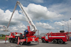 Demonstration of fire equipment near Stock Photography