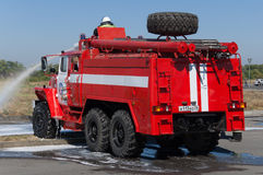 Demonstration of fire equipment Stock Images
