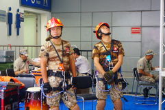 Demonstration of fire fighting and rescue Stock Images