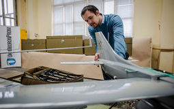 Demonstration of the first Ukrainian production drones Stock Photo