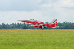 Demonstration flight aerobatic team of the Swiss Patrouille Suisse Royalty Free Stock Photos