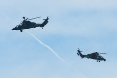 Demonstration flight of attack helicopter Eurocopter Tiger UHT. Royalty Free Stock Photo
