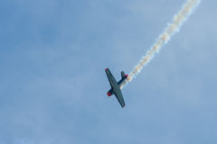 Demonstration flight of a single-engined advanced trainer aircraft North American T-6 Texan. Stock Photo