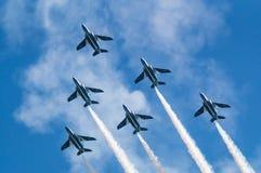 Demonstration Flights of Blue Impulse. Blue Impulse is the aerobatic demonstration team of the Japan Air Self-Defense Force Royalty Free Stock Photo