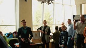 Demonstration of flying copter made by students, Russia stock footage