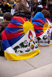 Demonstration for a Free Tibet. Protesters in Paris on the Trocadéro place: human rights square. People wearing the Tibetan flag Royalty Free Stock Image