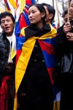 Demonstration for a Free Tibet. Tibetans standing near the Chinese embassy to protest against Chinese occupation of Tibet Stock Images