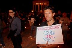 Demonstration gegen die homosexuellen Familien, die Manuf bewegen, gießen Tous Lizenzfreies Stockbild