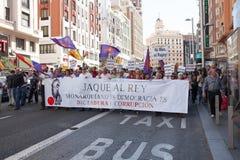Demonstration gegen spanische Monarchie in Madrid, Spanien Stockbilder