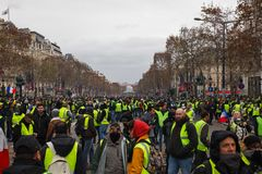 Demonstration of `Gilets Jaunes` in Paris, France royalty free stock photography