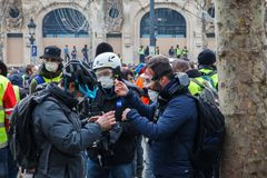 Demonstration of `Gilets Jaunes` in Paris, France stock image