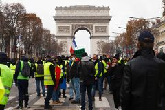 Demonstration of `Gilets Jaunes` in Paris, France stock photography