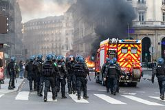 Demonstration of `Gilets Jaunes` in Paris, France royalty free stock photo