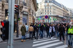 Demonstration of `Gilets Jaunes` in Paris, France royalty free stock images