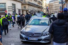 Demonstration of `Gilets Jaunes` in Paris, France stock photo