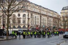 Demonstration of `Gilets Jaunes` in Paris, France stock images