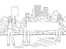 Demonstration graphic black white city street road landscape sketch illustration vector. People are standing Royalty Free Stock Image