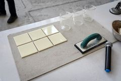 Ceramic tile prepare for demonstration how to grout Stock Photography