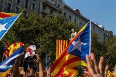 Demonstration i Catalonia Arkivbild