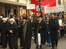 demonstration i stadens centrum islamiska vancouver Arkivbild