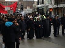 demonstration i stadens centrum islamiska vancouver Arkivfoton