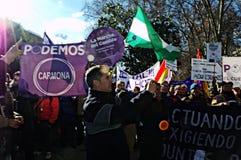 Demonstration i vägnar av PODEMOS 10 Fotografering för Bildbyråer
