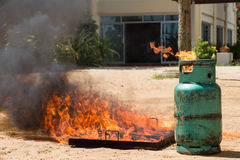 Demonstration ignited a gas tank. Demonstration test ignited a gas tank Stock Photography