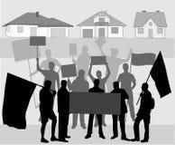 Demonstration - illustration. Street demonstration-a group of protesting human- illustration Stock Photo