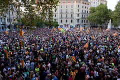 Demonstration Independence catalonia 20/09/2017 Stock Photo