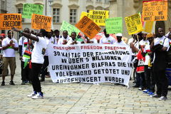 Demonstration-Indigenious People of Biafra. People of Igbo ethnic group protesting for independence from Nigeria in Vienna on 05/30/2015 Stock Image