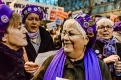 Demonstration on International Women's Day 2016 in Madrid, Spain Stock Photo