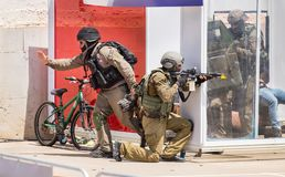 Demonstration of Israel Police Special Unit storming home with terrorists. BEIT SHEMESH, ISRAEL - APRIL 19, 2018: Demonstration of Israel Police Special Unit royalty free stock photos