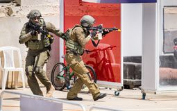 Demonstration of Israel Police Special Unit storming home with terrorists. BEIT SHEMESH, ISRAEL - APRIL 19, 2018: Demonstration of Israel Police Special Unit stock image