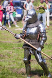 Demonstration of knights fighting in medieval costumes  in The castle Chudow Stock Images
