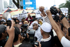 Demonstration in Kuala Lumpur, Malaysia. KUALA LUMPUR, MALAYSIA-MAY 20: Demonstrators during a protest against a proposed rare earth plant to be built in Gebeng Royalty Free Stock Photography