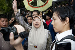 Demonstration in Kuala Lumpur, Malaysia. KUALA LUMPUR, MALAYSIA-MAY 20: Malaysian politician, Fuziah joint a protest against a proposed rare earth plant to be Stock Image